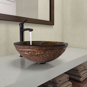 Golden Greek Glass Vessel Bathroom Sink Set with Milo Vessel Faucet in Antique Rubbed Bronze, 15-1/2'' Diameter x 5'' H