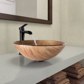Amber Sunset Glass Vessel Bathroom Sink Set with Niko Vessel Faucet in Antique Rubbed Bronze