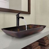 Rectangular Brown and Gold Fusion Glass Vessel Bathroom Sink and Niko Faucet Set in Antique Rubbed Bronze, 22-1/4'' W x 14-1/2'' D x 4-1/2'' H