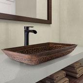 Rectangular Golden Greek Glass Vessel Bathroom Sink Set with Niko Vessel Faucet in Antique Rubbed Bronze, 22-1/4'' W x 14-1/2'' D x 4-1/2'' H