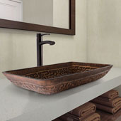 Rectangular Golden Greek Glass Vessel Bathroom Sink Set with Milo Vessel Faucet in Antique Rubbed Bronze, 22-1/4'' W x 14-1/2'' D x 4-1/2'' H