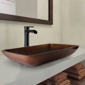 22'' Rectangular Russet Glass Vessel Bathroom Sink Set Niko Vessel Faucet in with Antique Rubbed Bronze