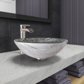 Round Titanium Glass Vessel Bathroom Sink Set with Niko Vessel Faucet in Brushed Nickel