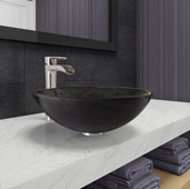 Gray Onyx Glass Vessel Bathroom Sink Set with Niko Vessel Faucet in Brushed Nickel, 16-1/2'' Diameter x 6'' H