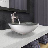 Simply Silver Glass Vessel Bathroom Sink Set with Niko Vessel Faucet in Brushed Nickel