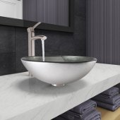 Simply Silver Glass Vessel Bathroom Sink Set with Milo Vessel Faucet in Brushed Nickel