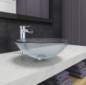 Crystalline Glass Vessel Bathroom Sink Set with Niko Vessel Faucet in Chrome, 16-1/2'' Diameter x 6-1/2'' H