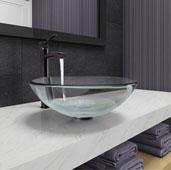 Crystalline Glass Vessel Bathroom Sink Set with Milo Vessel Faucet in Antique Rubbed Bronze, 16-1/2'' Diameter x 6-1/2'' H
