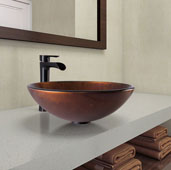 Russet Glass Vessel Bathroom Sink Set with Niko Vessel Faucet in Antique Rubbed Bronze, 16-1/2'' Diameter x 6-1/2'' H