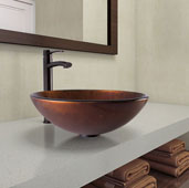 Russet Glass Vessel Bathroom Sink Set with Milo Vessel Faucet in Antique Rubbed Bronze, 16-1/2'' Diameter x 6-1/2'' H