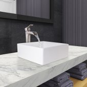 Dianthus Matte Stone Vessel Bathroom Sink Set with Niko Vessel Faucet in Brushed Nickel, Pop-Up Drain in Matte White