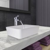 Marigold Matte Stone Vessel Bathroom Sink Set with Niko Vessel Faucet and Pop-Up Drain in Chrome