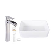 Marigold Matte Stone Vessel Bathroom Sink Set with Niko Vessel Faucet in Chrome, 18'' W x 14-1/2'' D x 5'' H