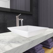 Hibiscus Matte Stone Vessel Bathroom Sink Set with Milo Vessel Faucet and Pop-Up Drain in Brushed Nickel