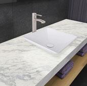 Hibiscus Matte Stone Vessel Bathroom Sink Set with Milo Vessel Faucet in Brushed Nickel, 16'' W x 16'' D x 4-5/8'' H