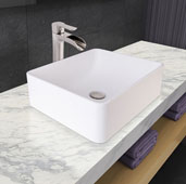 Amaryllis Matte Stone Vessel Bathroom Sink Set with Niko Vessel Faucet and Pop-Up Drain in Brushed Nickel, 19-5/8'' W x 14-1/2'' D x 6-1/8'' H