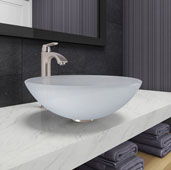 White Frost Glass Vessel Bathroom Sink Set with Linus Vessel Faucet in Brushed Nickel, 16-1/2'' Diameter x 6'' H