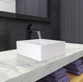 Dianthus Matte Stone Vessel Bathroom Sink Set with Blackstonian Vessel Faucet and Pop-Up Drain in Matte Black, 14-1/2'' W x 14-1/2'' D x 5'' H