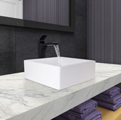 Dianthus Matte Stone Vessel Bathroom Sink Set with Blackstonian Vessel Faucet in Matte Black and Matte White Pop-Up Drain, 14-1/2'' W x 14-1/2'' D x 5'' H