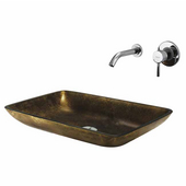 Copper Glass Vessel Sink and Faucet Set, Wall Mounted