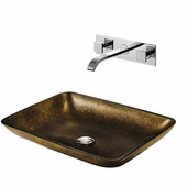 Copper Glass Vessel Sink and Faucet Set, Widespread Wall Mounted