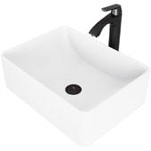 Amaryllis Matte Stone Vessel Bathroom Sink Set with Pop-Up Drain and Linus Vessel Faucet in Matte Black, 19-5/8'' W x 14-1/2'' D x 6-1/8'' H