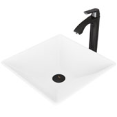 Hibiscus Matte Stone Vessel Bathroom Sink Set with Pop-Up Drain and Linus Vessel Faucet in Matte Black, 16'' W x 16'' D x 4-3/4'' H