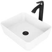Marigold Matte Stone Vessel Bathroom Sink Set with Pop-Up Drain and Linus Vessel Faucet in Matte Black, 17-3/4'' W x 14-3/8'' D x 5'' H