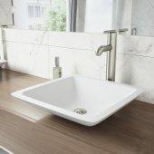 Begonia Matte Stone Vessel Bathroom Sink Set with Seville Vessel Faucet in Brushed Nickel