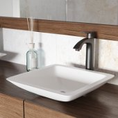 Begonia Matte Stone Vessel Bathroom Sink Set with Linus Vessel Faucet in Antique Rubbed Bronze
