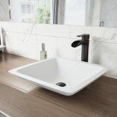 Begonia Matte Stone Vessel Bathroom Sink Set with Niko Vessel Faucet in Antique Rubbed Bronze
