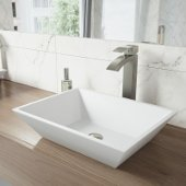 Vinca Matte Stone Vessel Bathroom Sink Set with Duris Vessel Faucet in Brushed Nickel