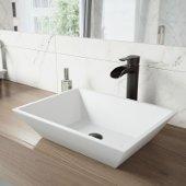 Vinca Matte Stone Vessel Bathroom Sink Set with Niko Vessel Faucet in Antique Rubbed Bronze