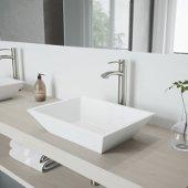 Vinca Matte Stone Vessel Bathroom Sink Set with Milo Vessel Faucet in Brushed Nickel
