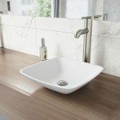 Hyacinth Matte Stone Vessel Bathroom Sink Set with Seville Vessel Faucet in Brushed Nickel