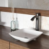 Hyacinth Matte Stone Vessel Bathroom Sink Set with Linus Vessel Faucet in Antique Rubbed Bronze