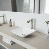 Hyacinth Matte Stone Vessel Bathroom Sink Set with Niko Vessel Faucet in Brushed Nickel