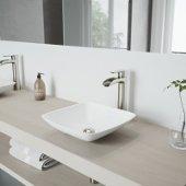 Hyacinth Matte Stone Vessel Bathroom Sink Set with Niko Vessel Faucet in Brushed Nickel