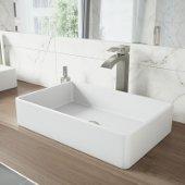 Magnolia Matte Stone Vessel Bathroom Sink Set with Duris Vessel Faucet in Brushed Nickel