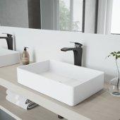 Magnolia Matte Stone Vessel Bathroom Sink Set with Blackstonian Vessel Faucet in Antique Rubbed Bronze