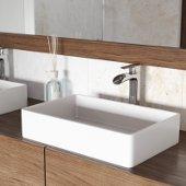 Magnolia Matte Stone Vessel Bathroom Sink Set with Niko Vessel Faucet in Chrome