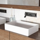 Magnolia Matte Stone Vessel Bathroom Sink Set with Titus Wall Mount Faucet in Antique Rubbed Bronze