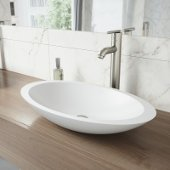 Wisteria Matte Stone Vessel Bathroom Sink Set with Seville Vessel Faucet in Brushed Nickel