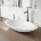 Wisteria Matte Stone Vessel Bathroom Sink Set with Seville Vessel Faucet in Brushed Nickel