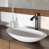 Wisteria Matte Stone Vessel Bathroom Sink Set with Linus Vessel Faucet in Antique Rubbed Bronze