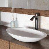 Wisteria Matte Stone Vessel Bathroom Sink Set with Linus Vessel Faucet in Antique Rubbed Bronze