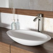 Wisteria Matte Stone Vessel Bathroom Sink Set with Otis Vessel Faucet in Brushed Nickel