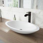 Wisteria Matte Stone Vessel Bathroom Sink Set with Niko Vessel Faucet in Antique Rubbed Bronze