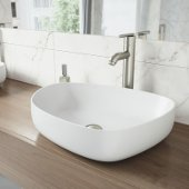 Peony Matte Stone Vessel Bathroom Sink Set with Seville Vessel Faucet in Brushed Nickel
