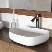 Peony Matte Stone Vessel Bathroom Sink Set with Linus Vessel Faucet in Antique Rubbed Bronze